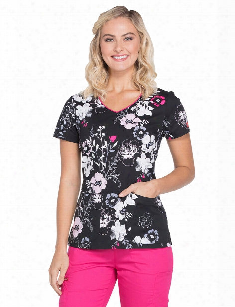 Dickies Eds Petal Persuasion Scrub Top - Print - Female - Women's Scrubs