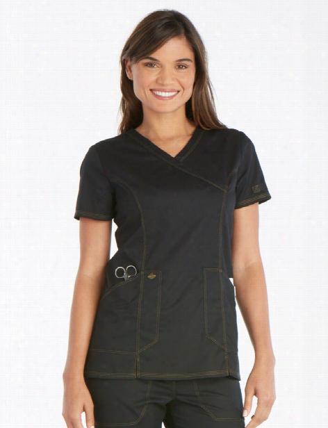 Dickies Essence Mock Wrap Scrub Top - Black - Female - Women's Scrubs