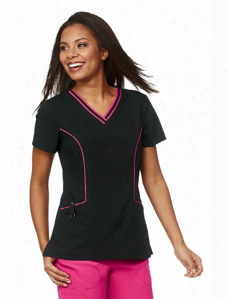 Dickies Xtreme Stretch V-neck Piping Scrub Top - Black-hotpink - Female - Women's Scrubs