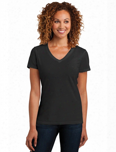 District Ladies V-neck Tee - Black - Unisex - Corporate Apparel