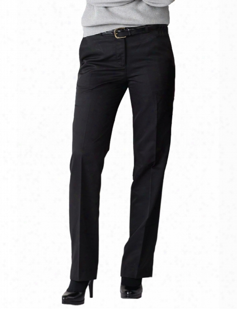 Edwards Ladies 100% Polyester Flat Front Pant - Black - Unisex - Corporate Apparel