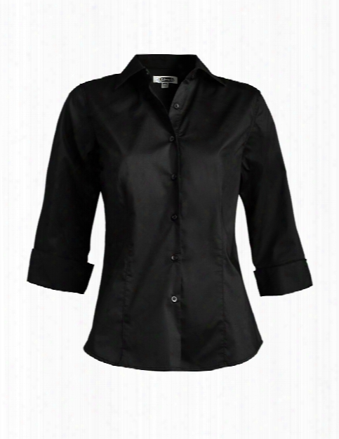 Edwards Ladies 3/4 Sleeve Stretch Blouse - Black - Unisex - Corporate Apparel