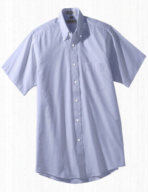 Edwards Mens Pinpoint Oxford Short Sleeve Shirt - Blue - Unisex - Corporate Apparel