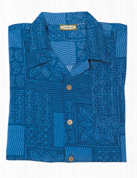 Edwards Microfiber Geometric Camp Shirt - Blue - Unisex - Corporate Apparel