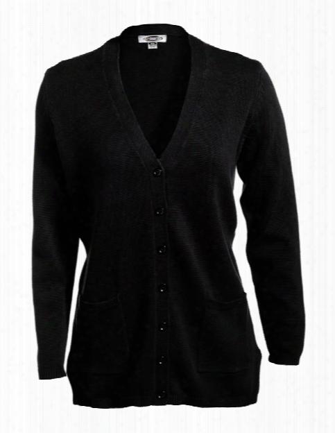 Edwards Womens Long Sleeve V-neck Cardigan - Black - Unisex - Corporate Apparel