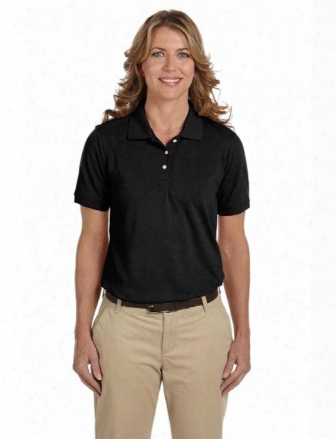 Harriton Ladies Silky  Soft Pique Blend Sport Polo Shir - Black - Unisex - Corporate Apparel