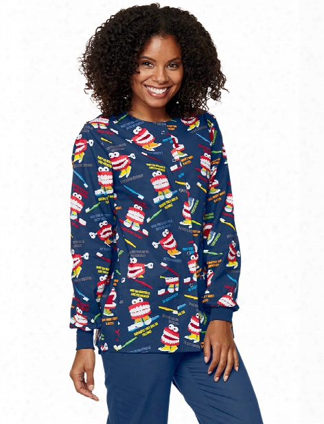 Mad About Mouths Chatter Box Navy Crew Neck Jacket - Print - Female - Women's Scrubs
