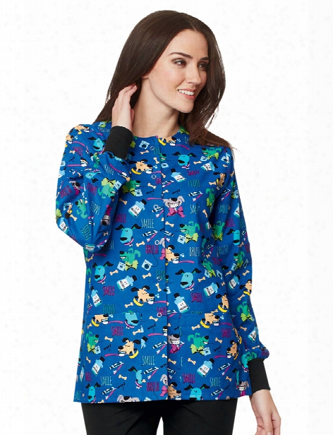 Mad About Mouths Doggie Breath Royal Crew Neck  Jacket - Print - Female - Women's Scrubs