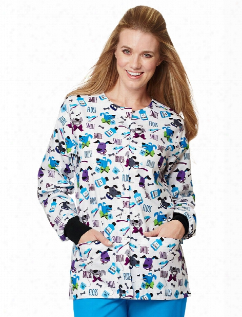 Mad About Mouths Doggie Breath White Crew Neck Jacket - Print - Female - Women's Scrubs