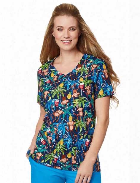 Mad About Mouths Floss Is Boss Navy 2 Pocket Scrub Top - Print - Female - Women's Scrubs