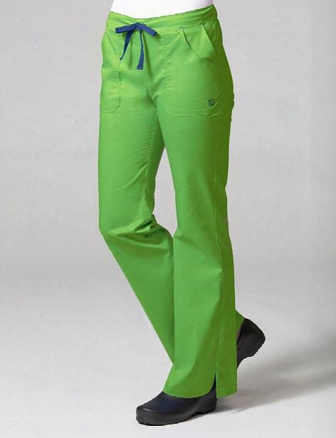 Maevn Blossom Collection Multi Pocket Flare Leg Scrub Pant - Apple Green - Female - Women's Scrubs