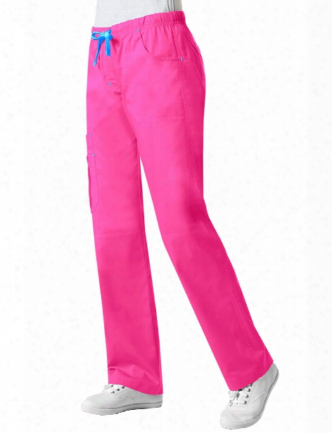 Maevn Blossom Pintuck Cargo Scrub Pant - Passion Pink - Female - Women's Scrubs