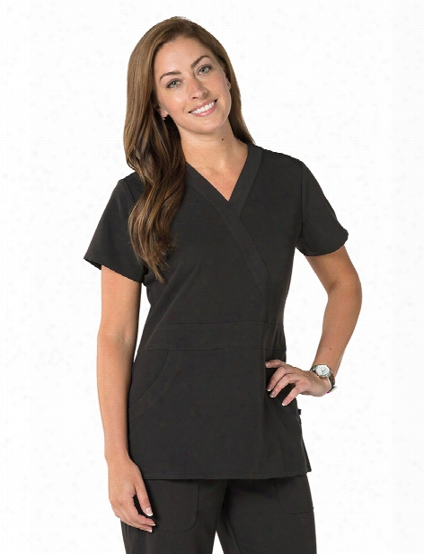 Nurse Mates Crossover Lauren Scrub Top - Black - Male - Men's Scrubs