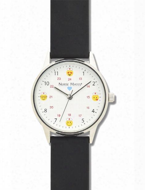 Nurse Mates Nurse Mates Black Strap Emoji Watch - Unisex - Medical Supplies