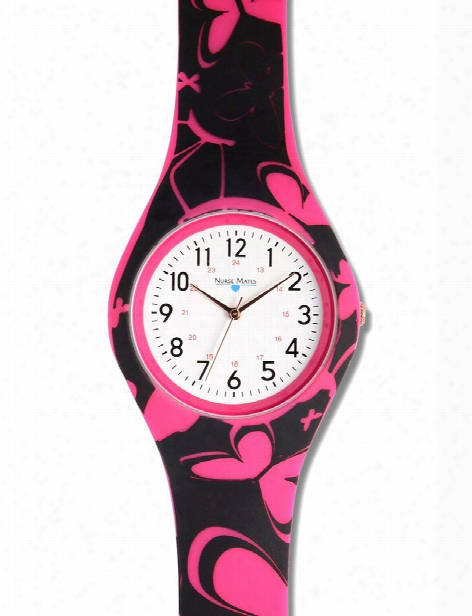 Nurse Mates Nurse Mates Pink Butterfly Printed Silicone Watch - Unisex - Medical Supplies