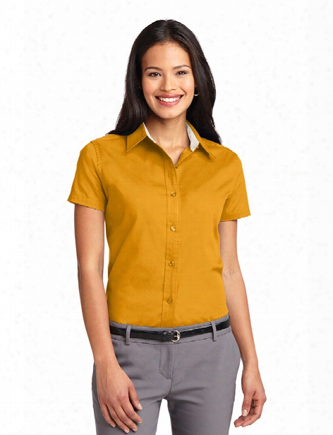 Port Authority Clearance Ladies Short Sleeve Easy Care Shirt - Athletic Gold-light Stone - Unisex - Corporate Apparel