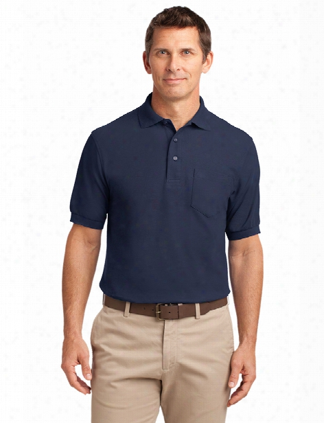Port Authority Clearance Silk Touch Sport Polo Shirt With Pocket - Navy - Unisex - Corporate Apparel