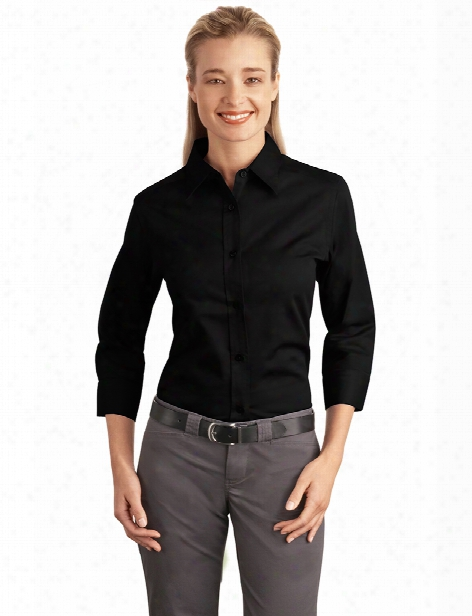 Port Authority Ladies 3/4 Sleeve Easy Care Shirt - Black - Unisex - Corporate Apparel