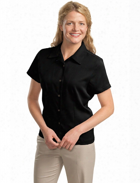 Port Authority Ladies Easy Care Camp Shirt - Black - Unisex - Corporate Apparel