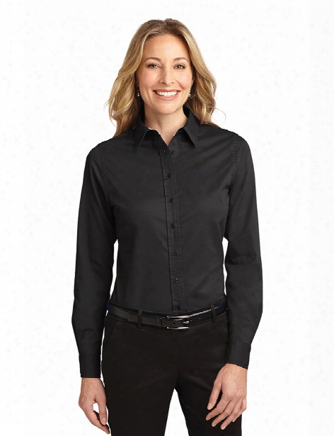 Port Authority Ladies Easy Care Long Sleeve Shirt - Black-light Stone - Unisex - Corporate Apparel