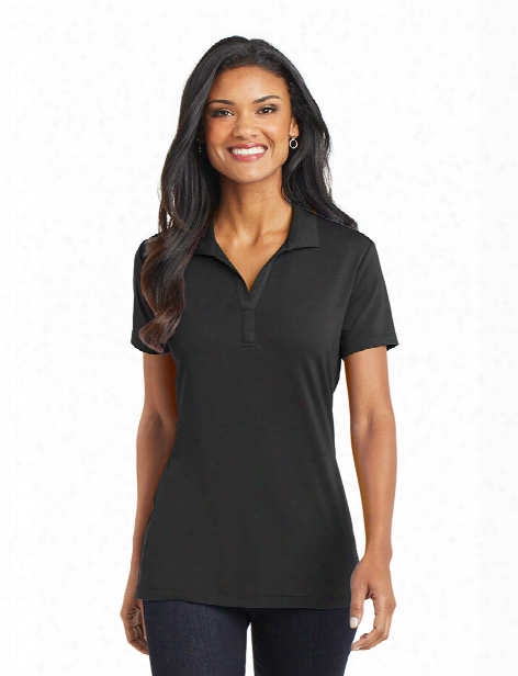 Port Authority Ladies Performance Polo With Button Placket - Black - Unisex - Corporate Apparel