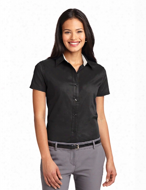 Port Authority Ladies Short Sleeve Easy Care Shirt - Black-light Stone - Unisex - Corporate Apparel