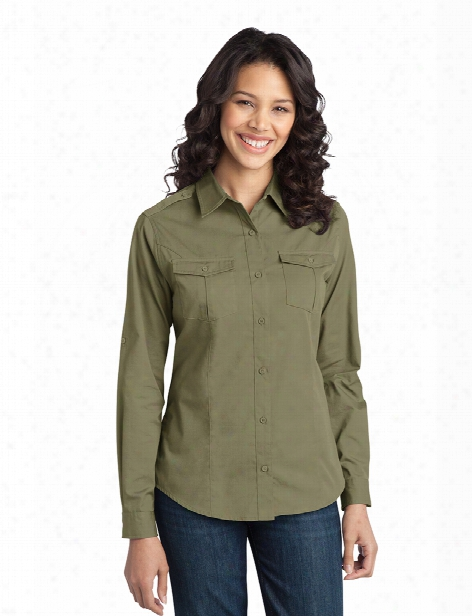 Port Authority Ladies Stain-resistant Roll Sleeve Twill Shirt - Black - Unisex - Chefwear