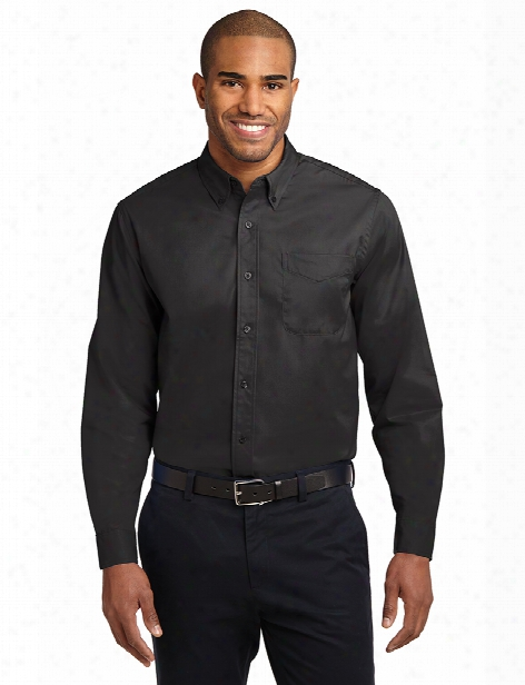 Port Authority Long Sleeve Easy Care Shirt - Black-light Stone - Unisex - Corporate Apparel