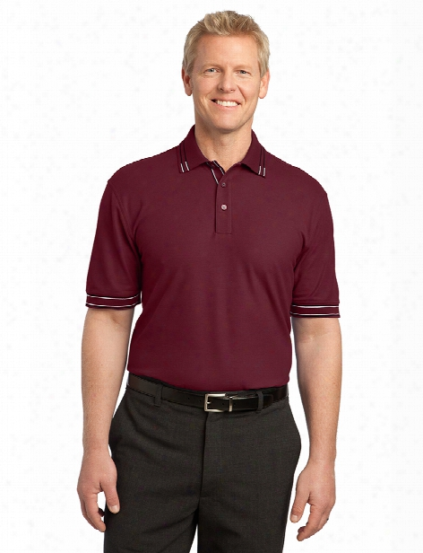 Port Authority Silk Touch Tipped Polo - Burgundy-black - Unisex - Corporate Apparel