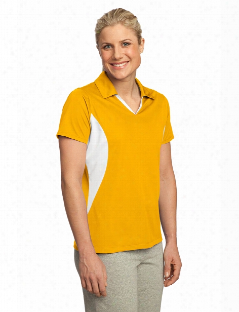 Sport-tek Ladies Sport-wick Polo - Gold-white - Unisex - Corporate Apparel