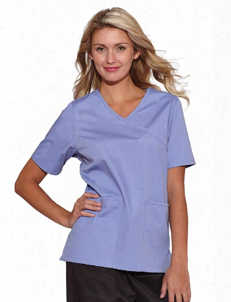 Tafford Essentials Clearance Cross Over Scrub Top - Ceil - Female - Women's Scrubs