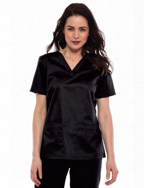 Tafford Essentials Stretch 2 Pocket Scrub Top - Black - Female - Women's Scrubs