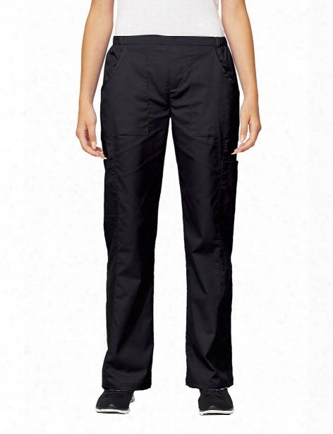 Tafford Essentials Stretch Modern Flat Front Cargo Scrub Pant - Black - Female - Women's Scrubs