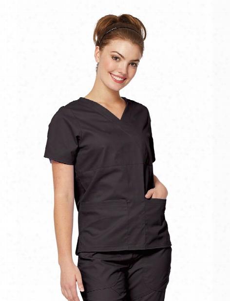 Tafford Essentials Stretch Modern Mock Wrap Scrub Top - Black - Female - Women's Scrubs