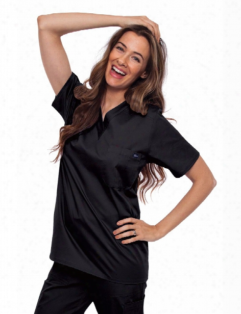Tafford Essentials Stretch Unisex Chest Pocket Scrub Top - Black - Unisex - Unisex