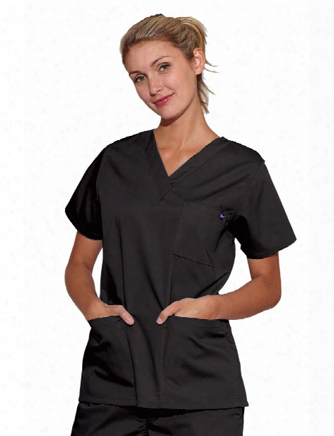 Tafford Essentials Unisex 3-pocket Scrub Top - Black - Unisex - Unisex