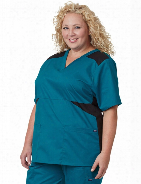 Tafford Plus Color Block Scrub Top - Coastal Surf - Female - Women's Scrubs