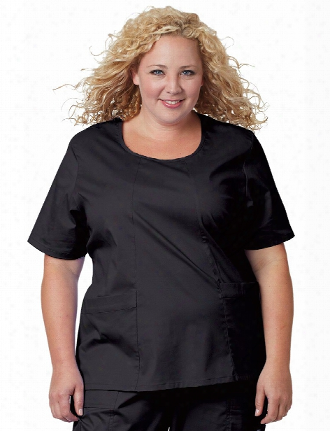 Tafford Plus Scoop Neck Scrub Top - Black - Female - Women's Scrubs