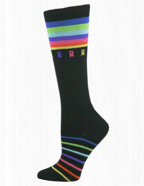 Think Medical Think Medical Ribbons And Stripes Cancer Awareness Compression Socks - Female - Women's Scrubs