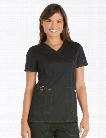 Dickies Essence Mock Wrap Scrub Top - Black - female - Women's Scrubs