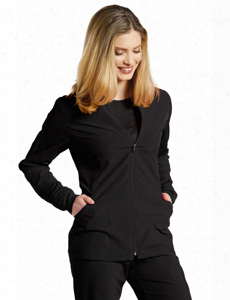 White Cross Fit Warm-up Jacket - Black - Female - Women's Scrubs