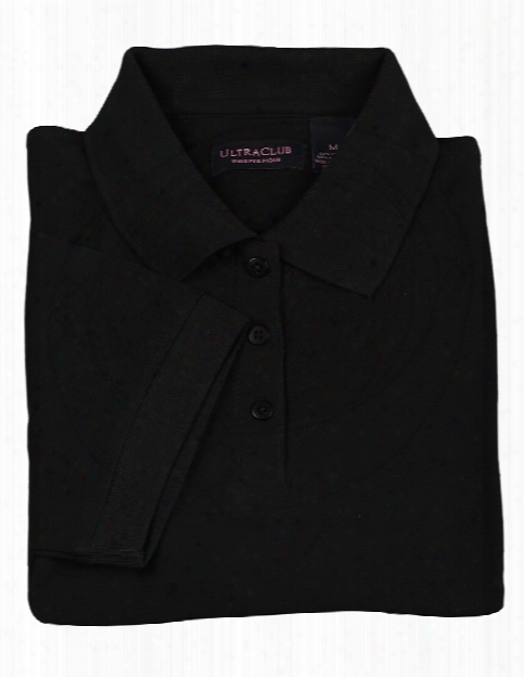 Alpha Broder Ultraclub Ladies Whisper Pique Polo - Black - Unisex - Corporate Apparel
