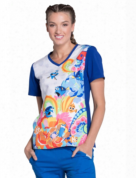 Cherokee Disney Finding Dory Fluent In Whale Scrub Top - Print - Female - Women's Scrubs