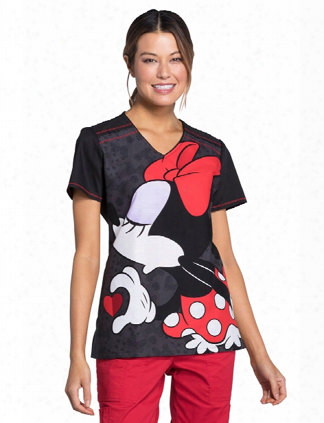 Cherokee Disney Minnie & Mickey Better Halves Scrub Top - Print - Female - Women's Scrubs