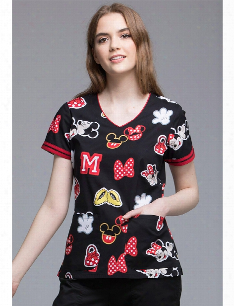 Cherokee Disney Minnie Patches Scrub Top - Print - Female - Women's Scrubs