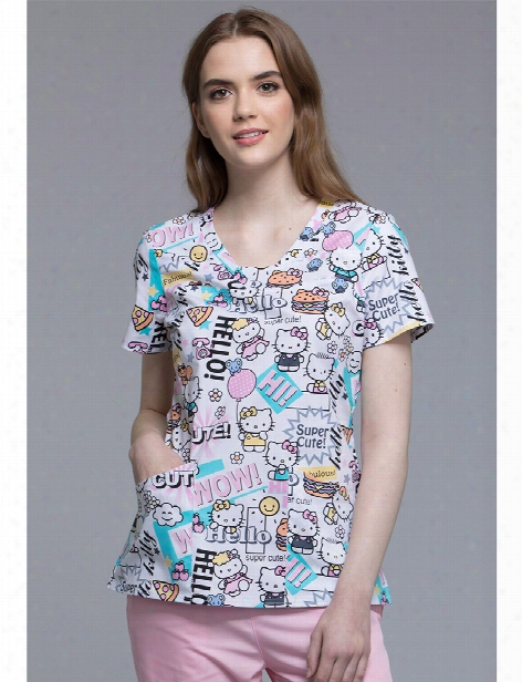 Cherokee Tooniforms Hello Kitty Hello Supercute Scrub Top - Print - Female - Women's Scrubs
