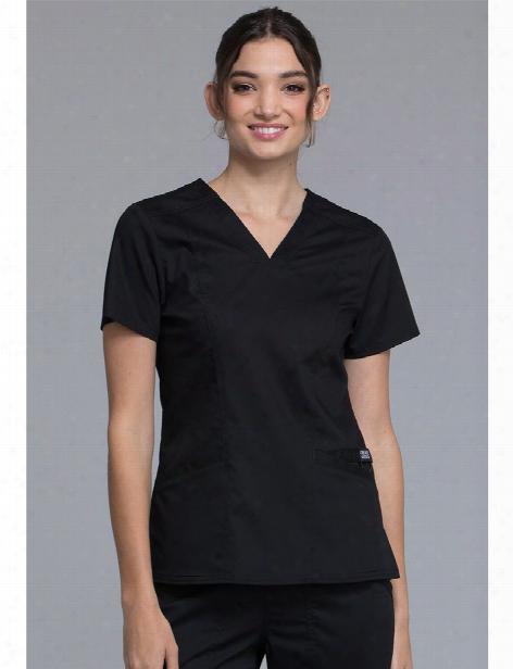 Cherokee Workwear Revolution Sporty V-neck Scrub Top - Black - Female - Women's Scrubs