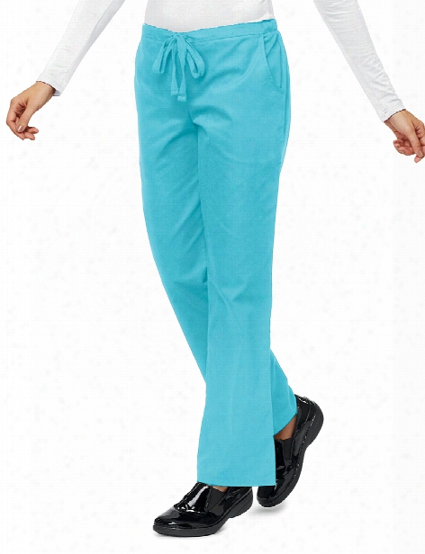 Lydia's Clearance Lydia's Select Flat Front Drawstring Pant - Aqua Sky - Female - Women's Scrubs