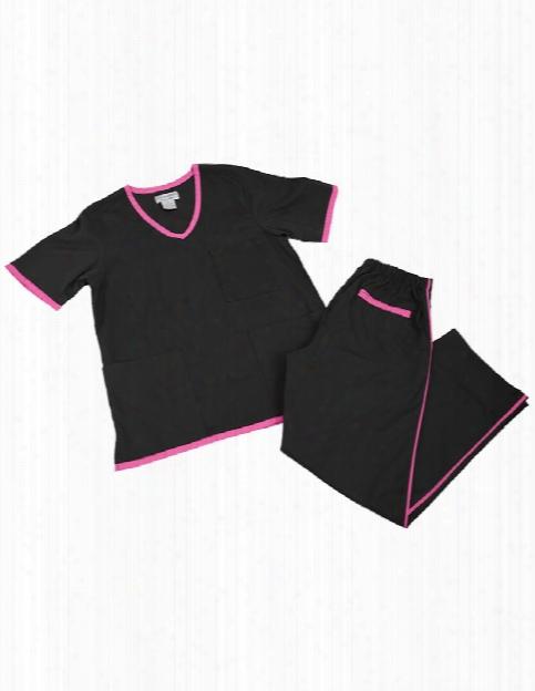 Natural Uniforms Contrast Trim Scrub Set - Blakc-hot Pink - Female - Women's Scrubs