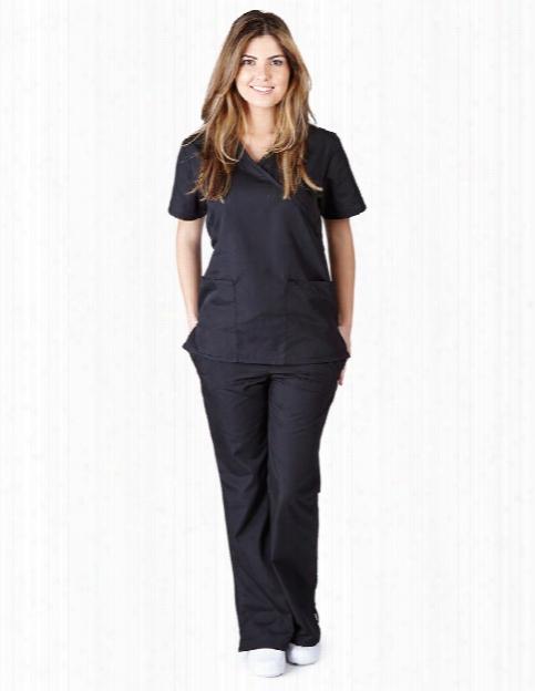 Natural Uniforms Mock Wrap And Flare Leg Scrub Set - Black - Female - Women's Scrubs